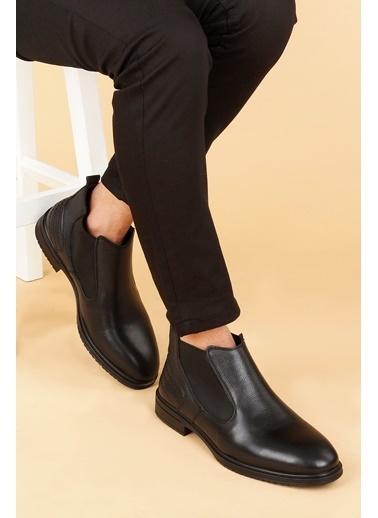 Ayakland Ayakland Hrz 099 Deri Kauçuk Taban Erkek Bot Ayakkabı Siyah
